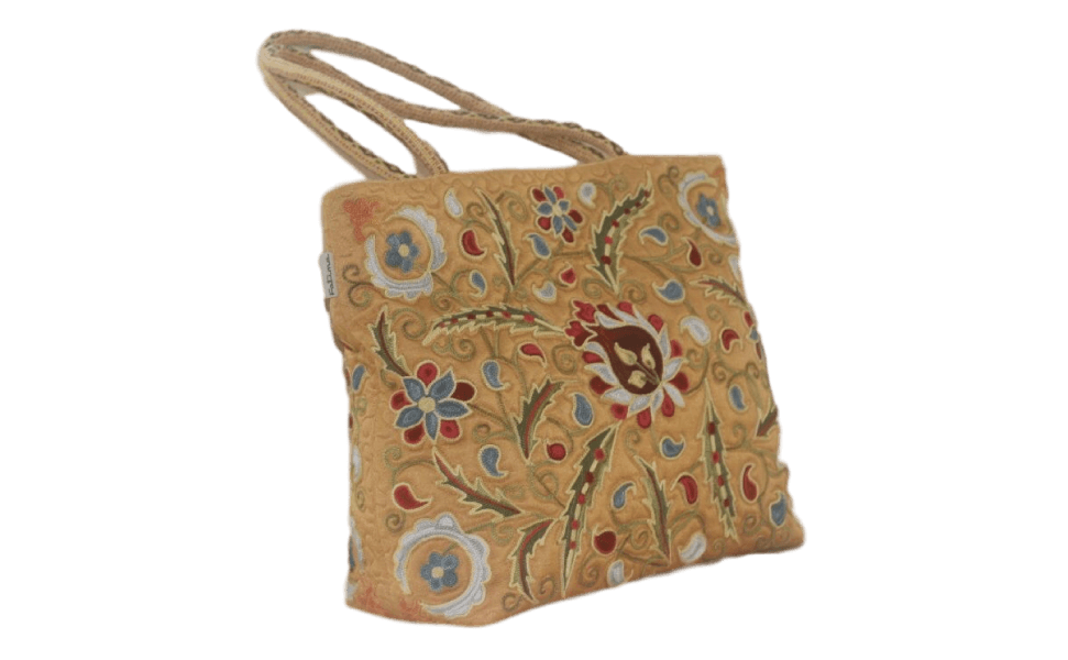 スザニ刺繍ハンドバッグ ① 「天国の花」