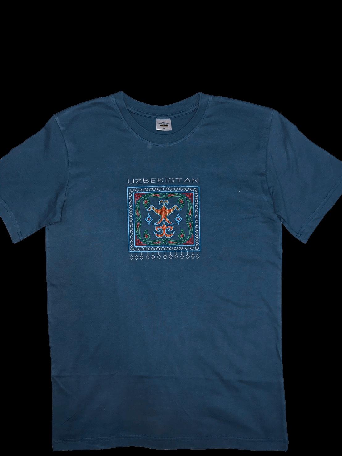 スザニ刺繍入りウズベキスタン Tシャツ(濃青ヒヤシンス色)