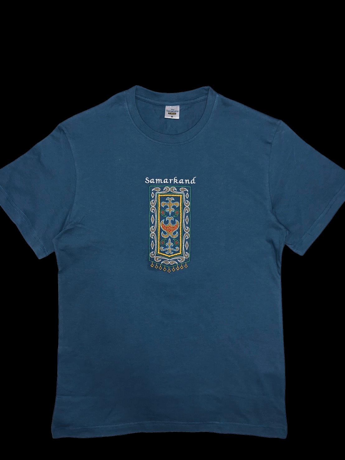 スザニ刺繍入り サマルカンド Tシャツ(濃青ヒヤシンス色)