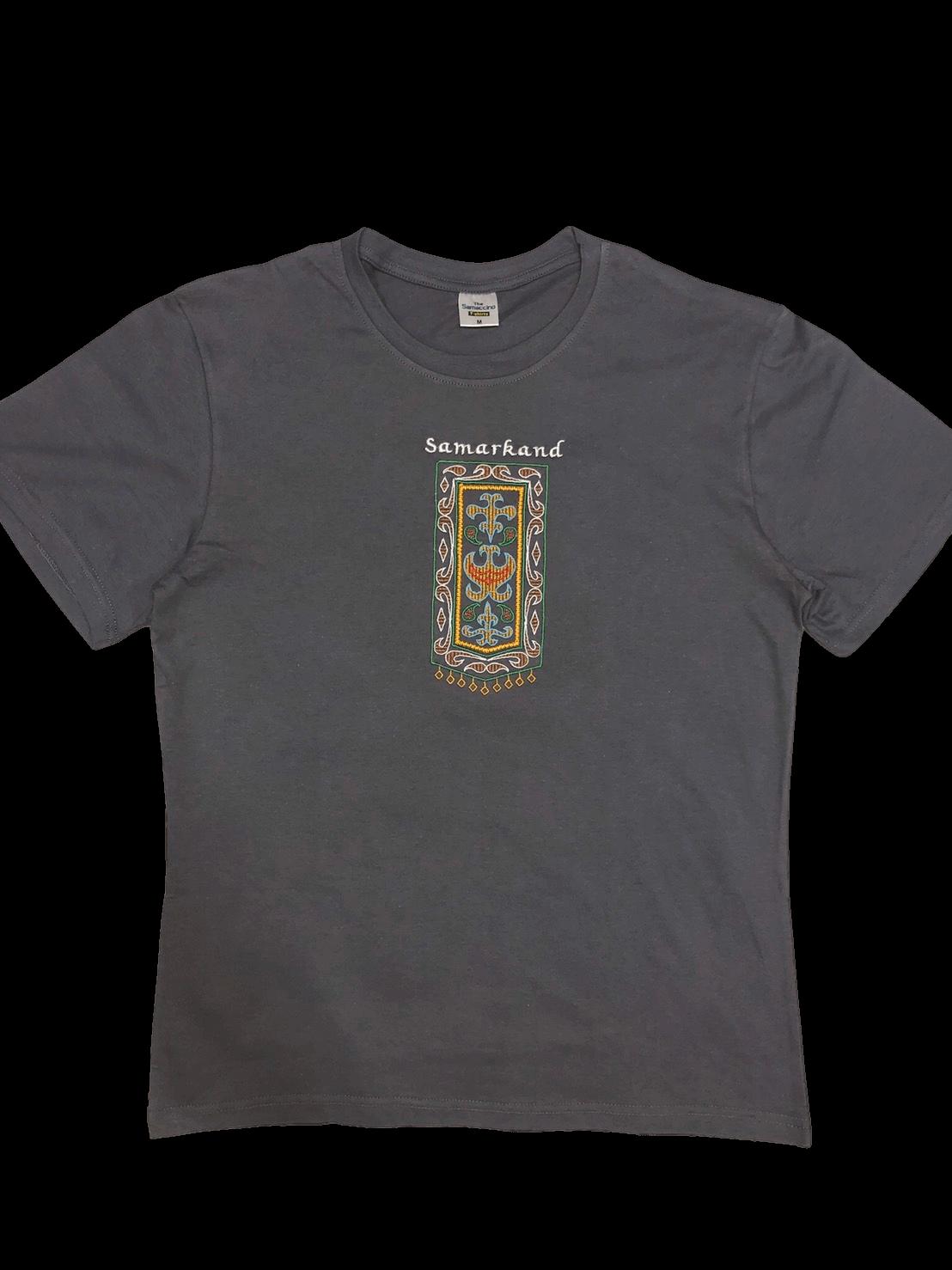 スザニ刺繍入り サマルカンド Tシャツ(グレー)