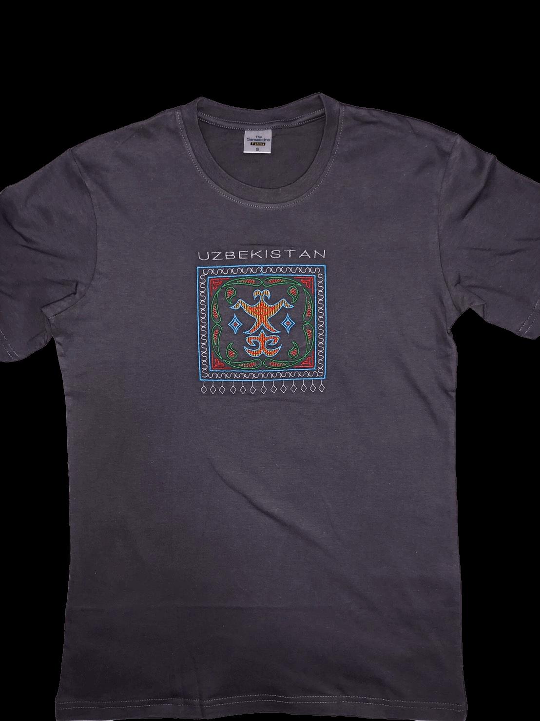 スザニ刺繍入りウズベキスタン Tシャツ(黒)