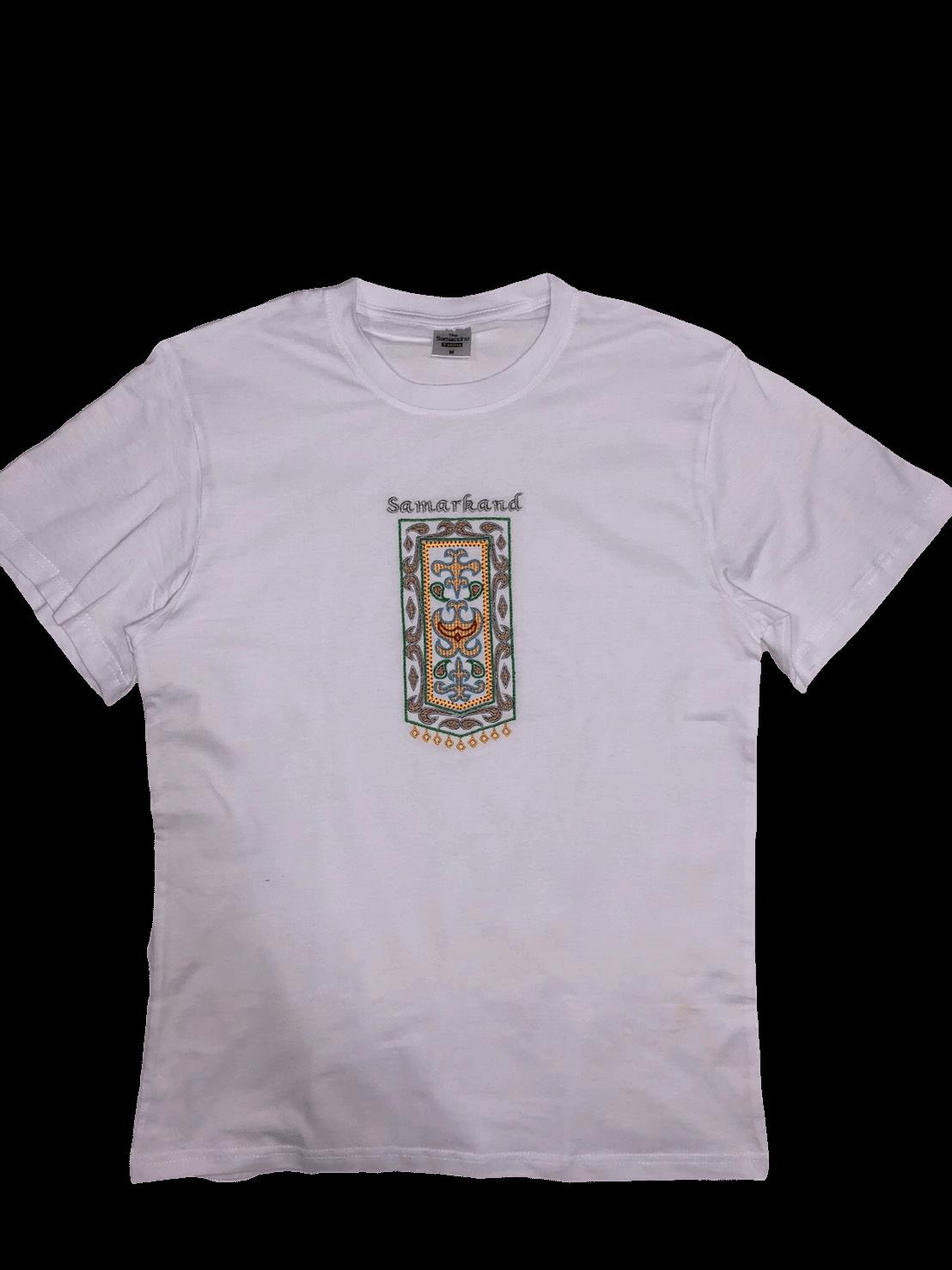 スザニ刺繍入り サマルカンド Tシャツ(白)